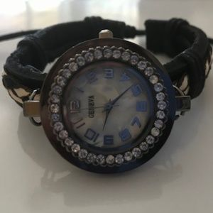 Vintage Gun Metal, Crystal Mother of Pearl Watch